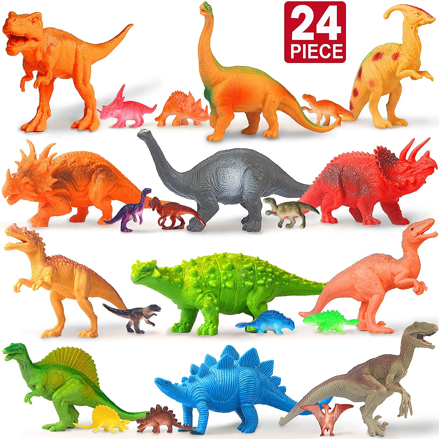 12 Large 12 Mini Toy Dinosaurs Set Figure Realistic Plastic Figurines Playset for Birthday School Playtime Dinosaur for Kids Boys Girls Age 3 Feroxo Dinosaur Toys for Kids Party Supplies Year