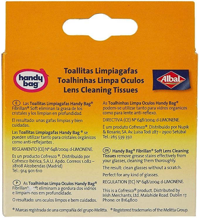 Handy Bag - Toallitas limpiagafas - Envase individual - 10 unidades: Amazon.es: Belleza