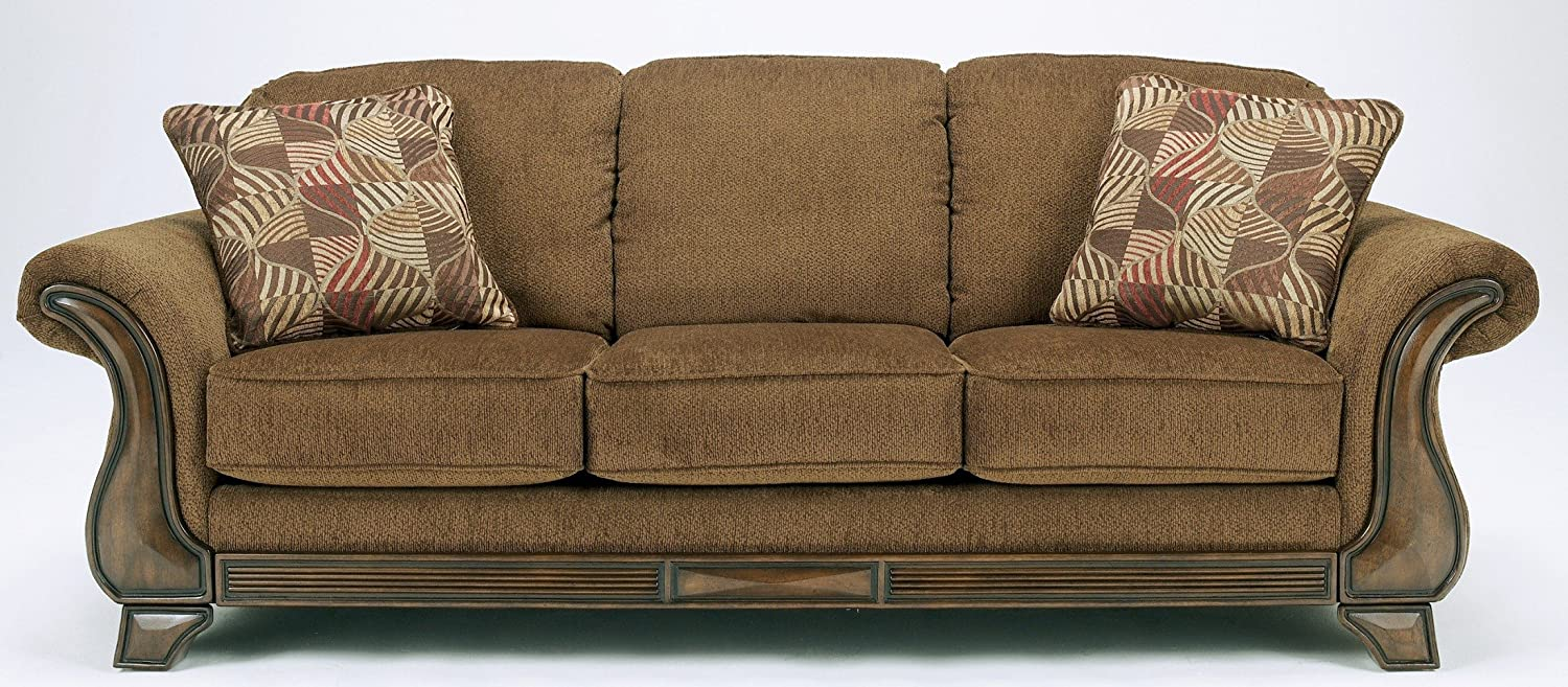 amazoncom ashley furniture signature design montgomery sleeper sofa with 2 accent pillows queen mattress traditional mocha kitchen u0026 dining