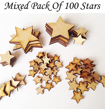 Mdf Star Mix Psck Of 100 Stars Various Sizes Wooden Craft Blank Embellishment