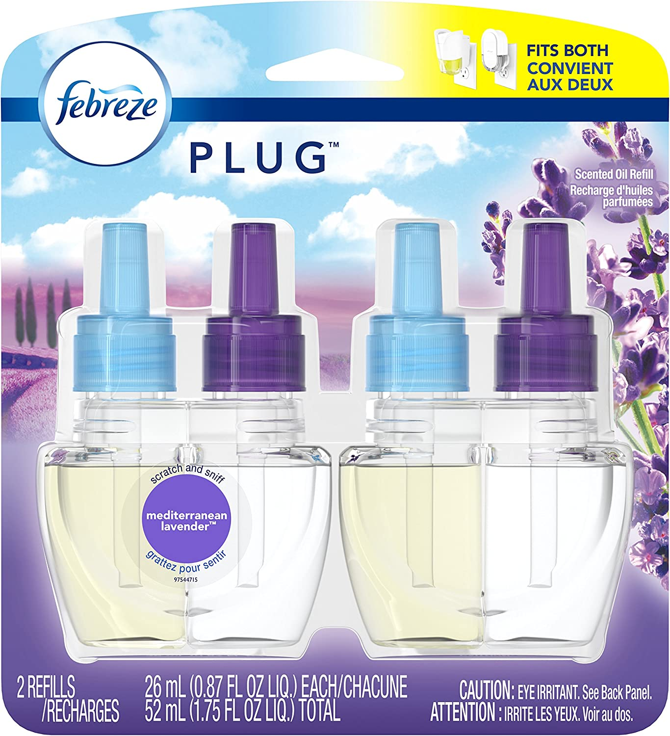 Febreze Plug Air Freshener Scented Oil Refill, Mediterranean Lavender, 2 count