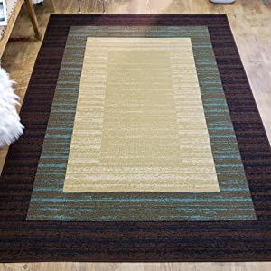 Rubber Backed Area Rug, 39 x 58 inch, Brown Beige Border Striped, Non Slip, Kitchen Rugs and Mats