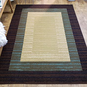 Amazon Com Area Rug 5x7 Brown Border Stripe Kitchen Rugs Mats