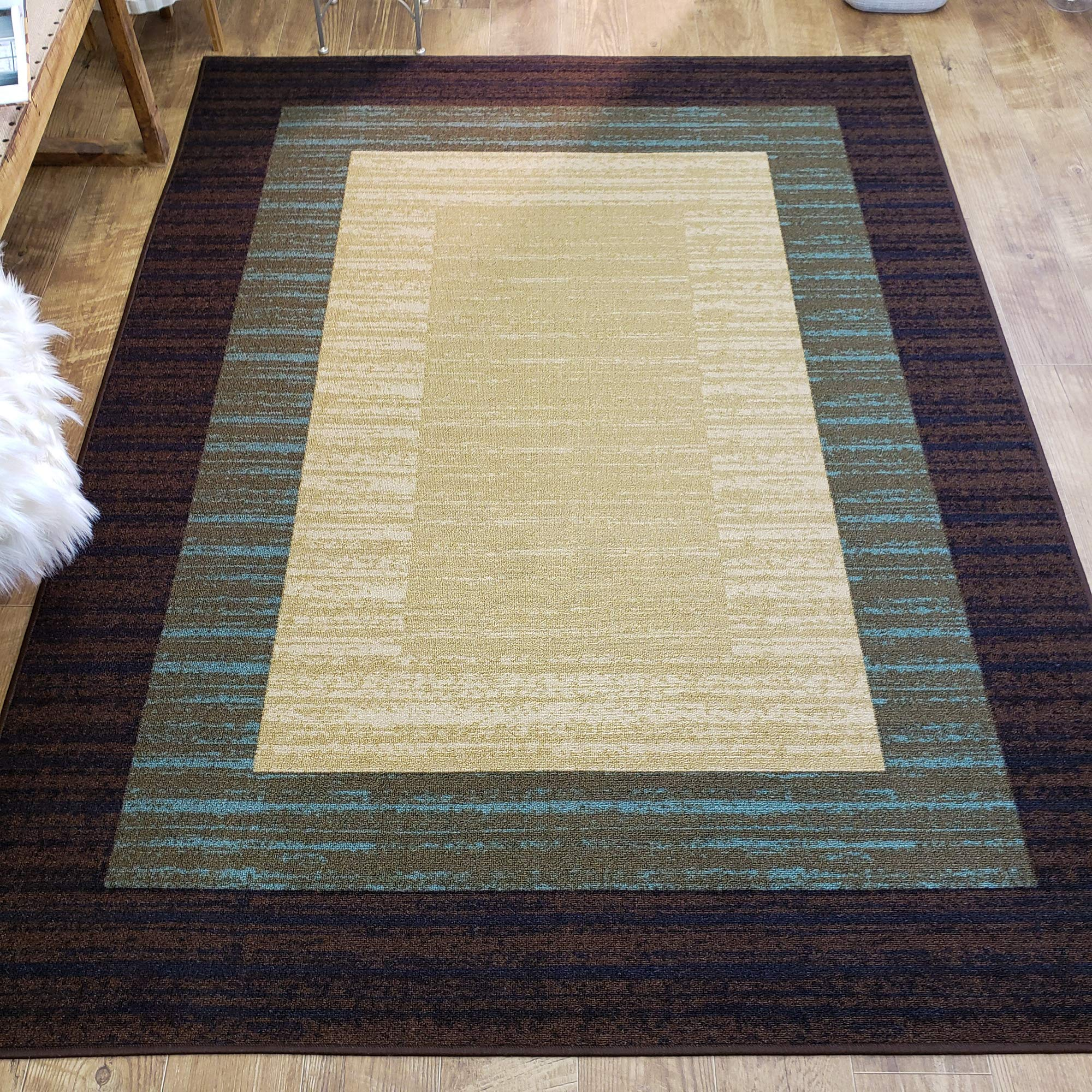 Rubber Backed Area Rug 39 X 58 Inch Brown Beige Border Striped Non Slip Kitchen Rugs And Mats Buy Online In Sri Lanka At Desertcart Lk Productid 14789756