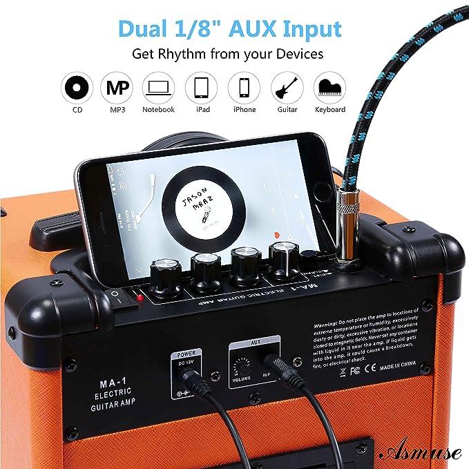 AsmuseTM10W Amplificadores Combo para guitarras Bajo Eléctrico Instrumentos Mini Amp Altavoz para estudio de práctica y ensayo: Amazon.es: Instrumentos ...
