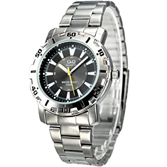 q q mens silver metal analog dress watch 5atm water resistant q q mens silver metal analog dress watch 5atm water resistant black dial