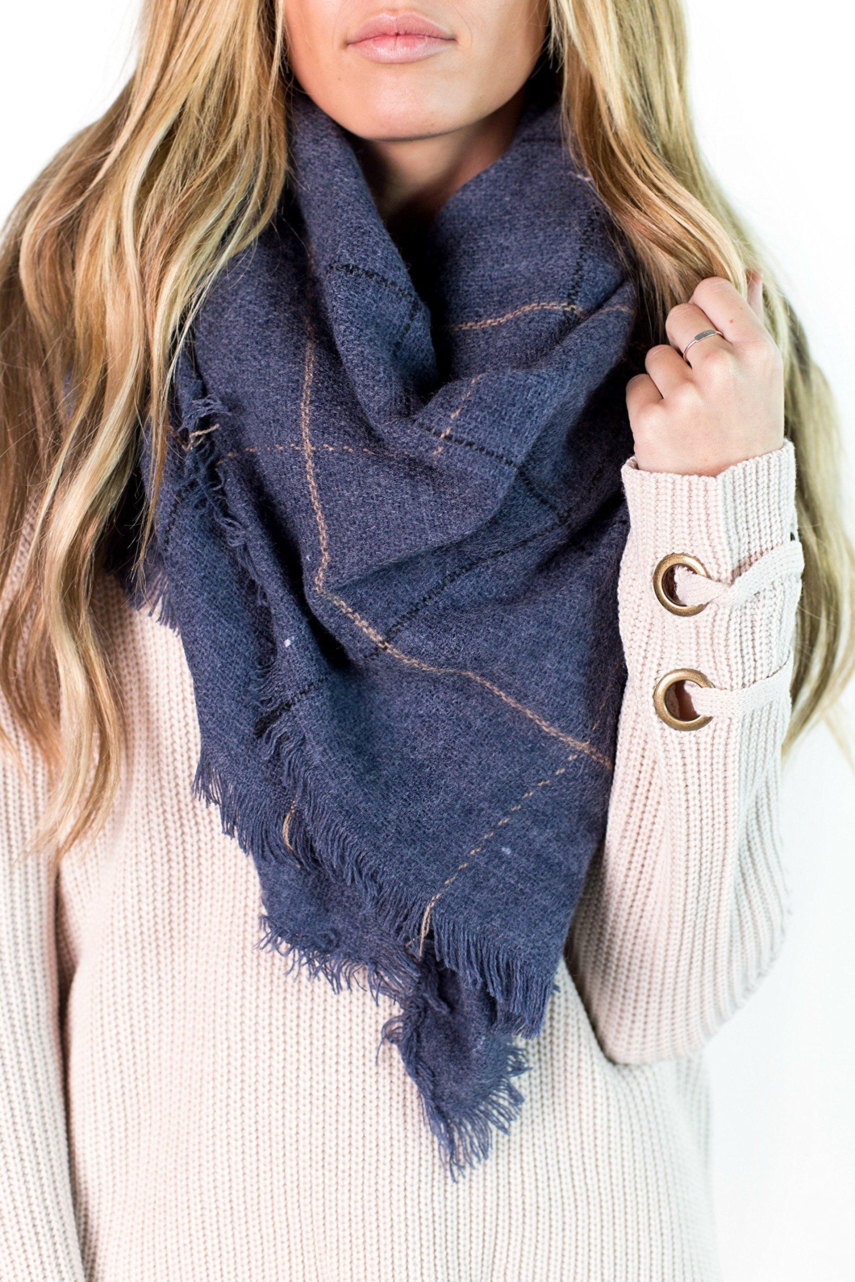 Copenhagen Thin Plaid Blanket Scarf, Slate Blue