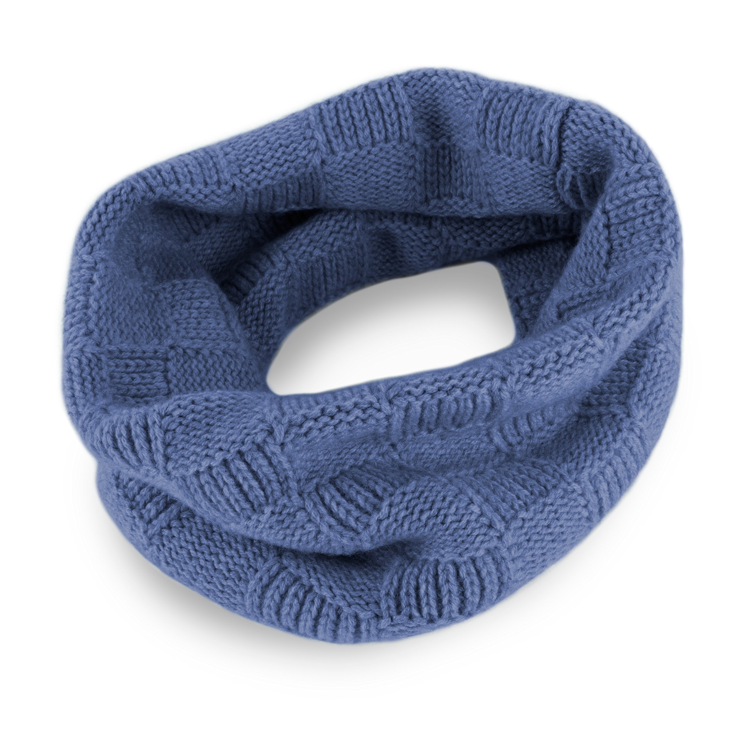 Love Cashmere Mens Checked 100% Cashmere Snood - Denim Blue - made in Scotland - RRP $160