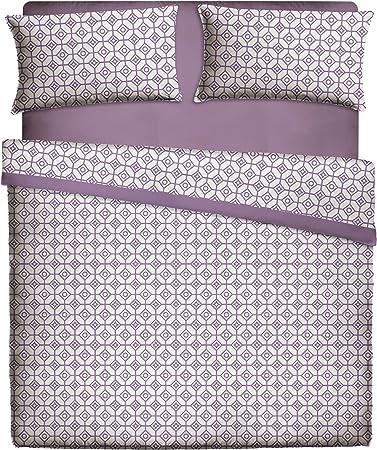 Casa Lieri - Juego de sábanas, algodón, 50% poliéster, color morado. Cama de 90 (Todas las medidas): Amazon.es: Hogar