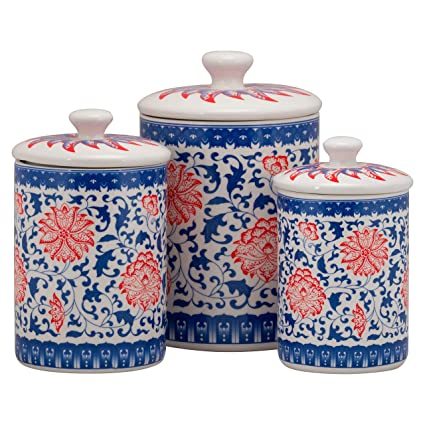 10 Strawberry Street CAN-Chino Chinoiserie Kitchen Canister Set, Set of 3,  Red/Blue