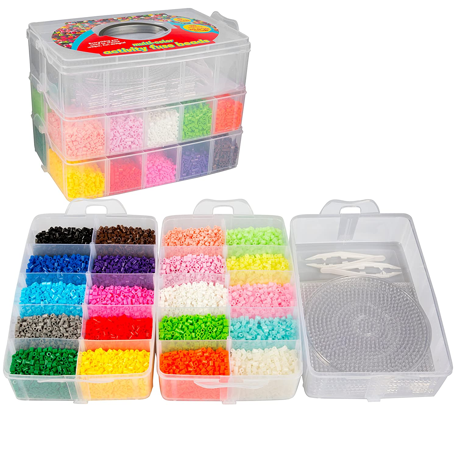 20,000 Fuse Beads - 20 colors 5 Glow in the Dark, Tweezers, Peg Boards, Ironing Paper, Case - Works with Perler Beads