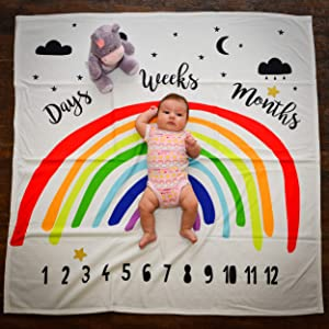 "Rainbow Baby Monthly Milestone Blanket Photography Backdrop by Stackable Creations | Props Included Large 47""x47"" Organic Fleece 12 Month Swaddle Blanket 
