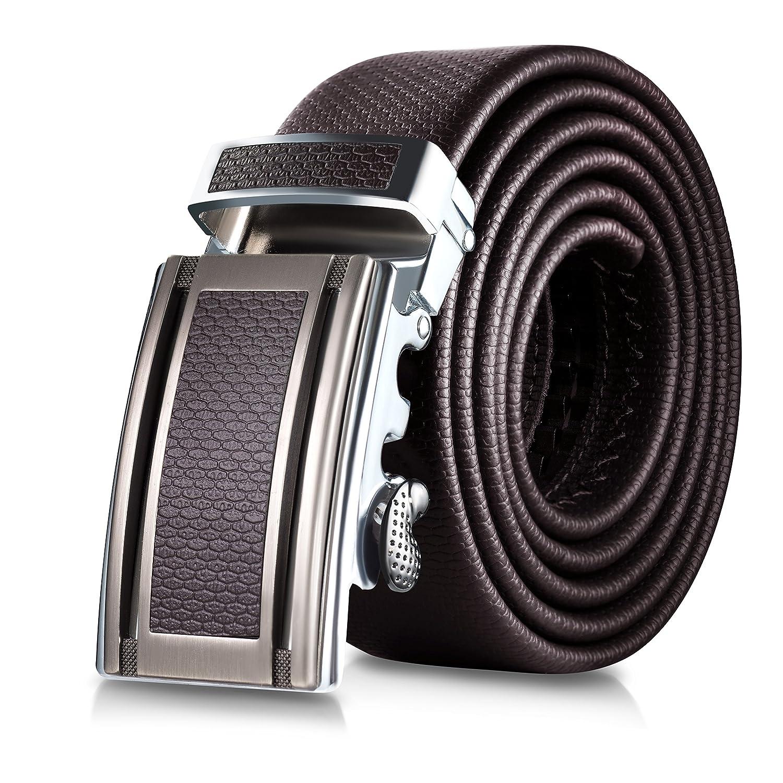 Mio Marino Classic Ratchet Belt Premium Leather 138 Wide Dress Fashion Simpel Elegan Greyish Free Adjustable Buckle Gift Box At Amazon Mens Clothing Store