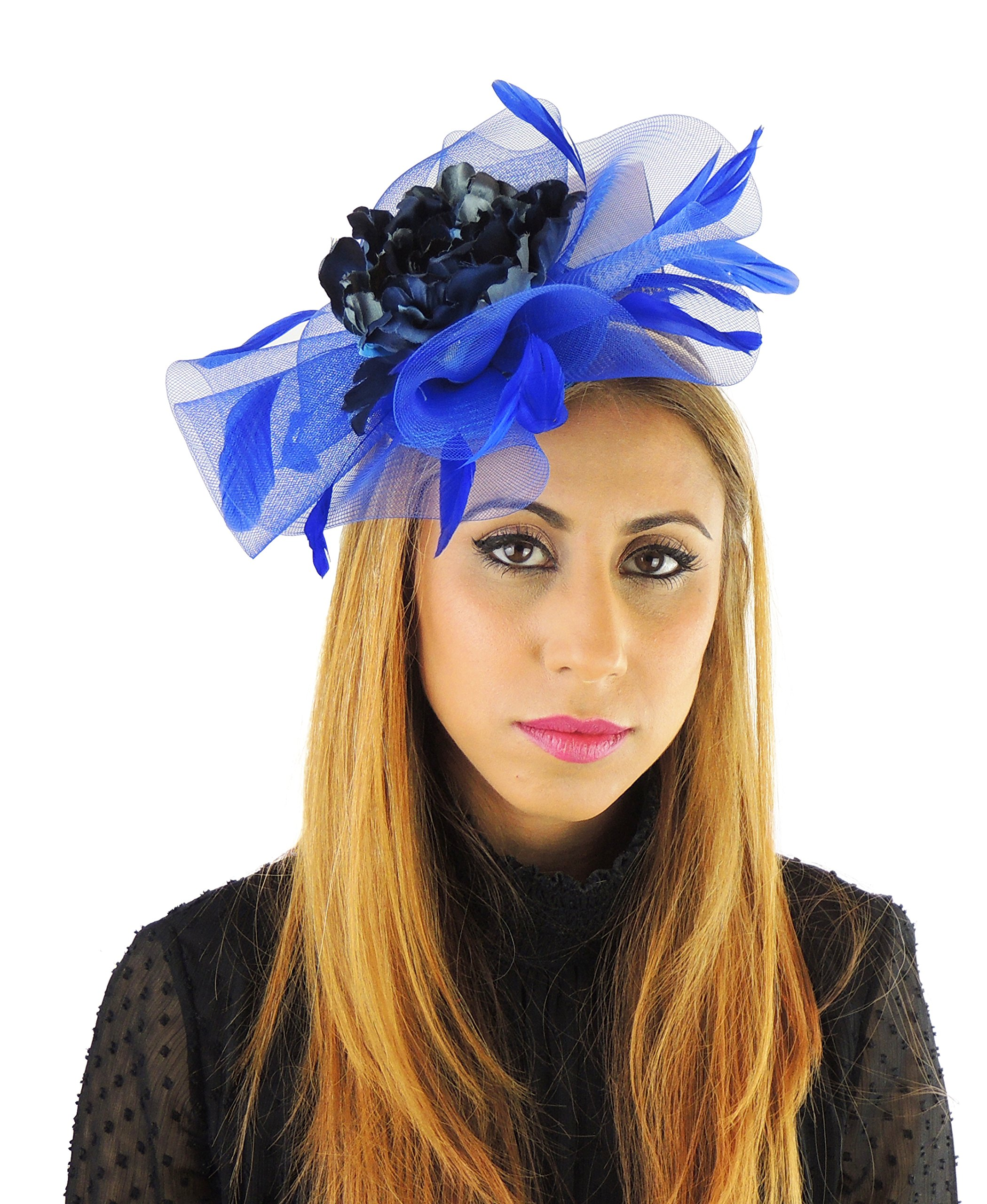 Hats By Cressida Ladies Wedding Races Ascot Derby Fascinator Headband Navy & Royal Blue by Hats By Cressida