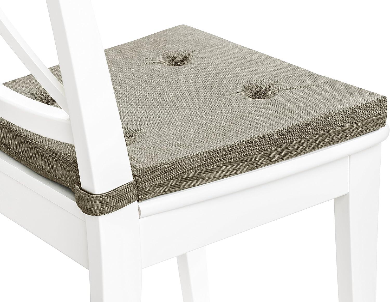 x 40 x 5 cm Dietro Blu Scuro Dimensioni: 42 avanti sleepling 194582 Set di 4 Cuscini per Sedia I Cuscino da Seduta // 35