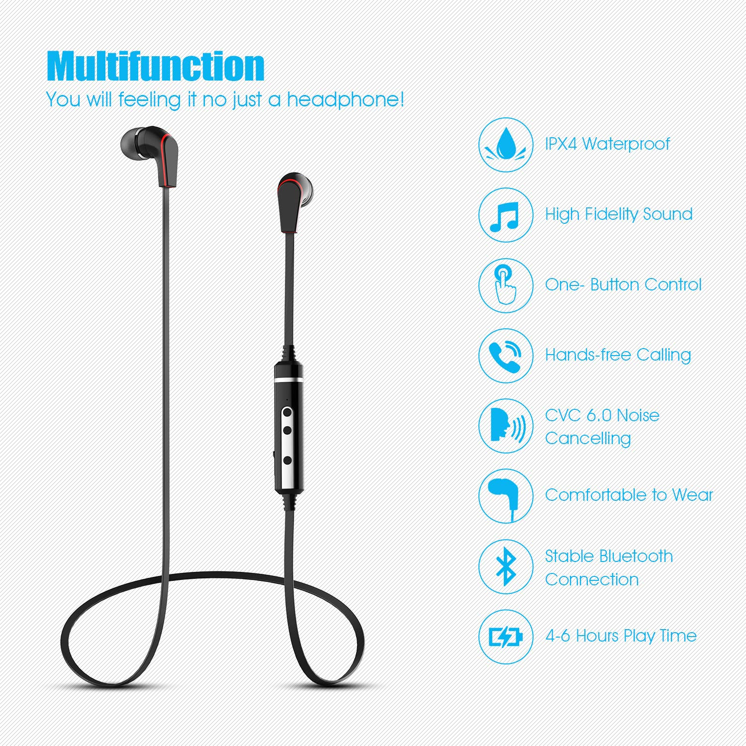 Running Headphones Bluetooth YUWISS Wireless Headphones Sports HD Stereo Headset w Mic IPX4 Sweatproof Music Earbuds for Running, Gym, Workout, Compatible with iPhone Samsung Android Black