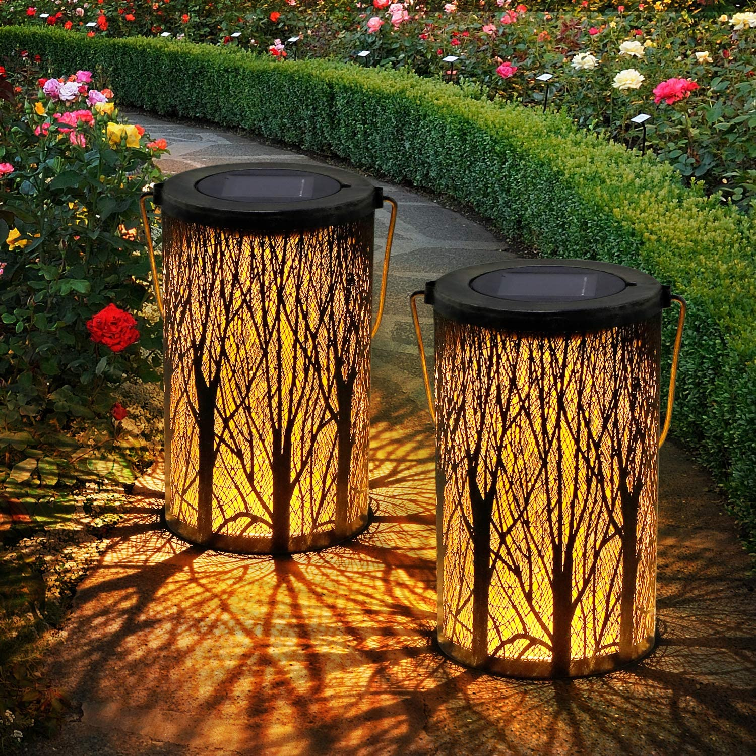 2 Pack Solar Lanterns, OxyLED LED Solar Garden Lights Outdoor, Hanging Lanterns Solar Powered with Handle Waterproof, Decorative Solar Lights for Table Patio Yard Pathway Walkway Driveway Christmas