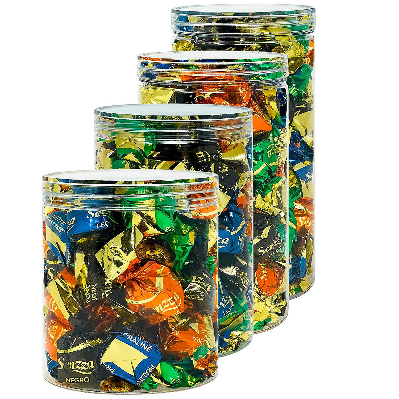D Luxy Pack 4 Botes de Polietileno Alimentario, 0,95 L (12x10 cm) - 1,1 L (15x10 cm) - 1,3 L (18x10 cm) y 1,5 L (20x10 cm). Tarros con Tapa ...