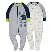 Gerber Baby Boys' 2 Pack Zip Front Sleep 'n Play, Hedgehog, Newborn