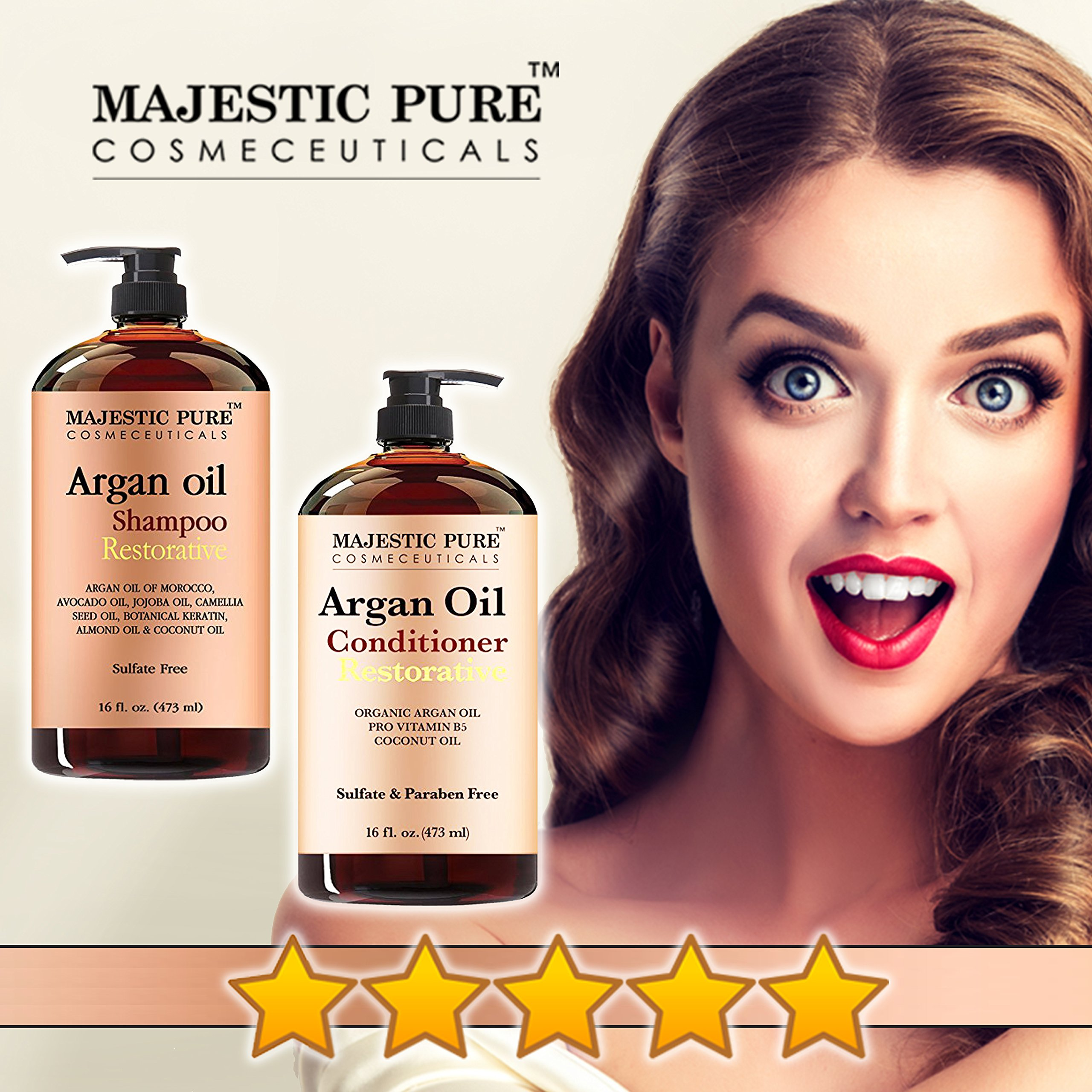 Argan Oil Shampoo and Conditioner, from Majestic Pure, Sulfate Free, Vitamin Enriched, Volumizing & Gentle Hair Restoration Formula for Daily Use, For Men and Women, 16 fl oz each … by Majestic Pure (Image #4)