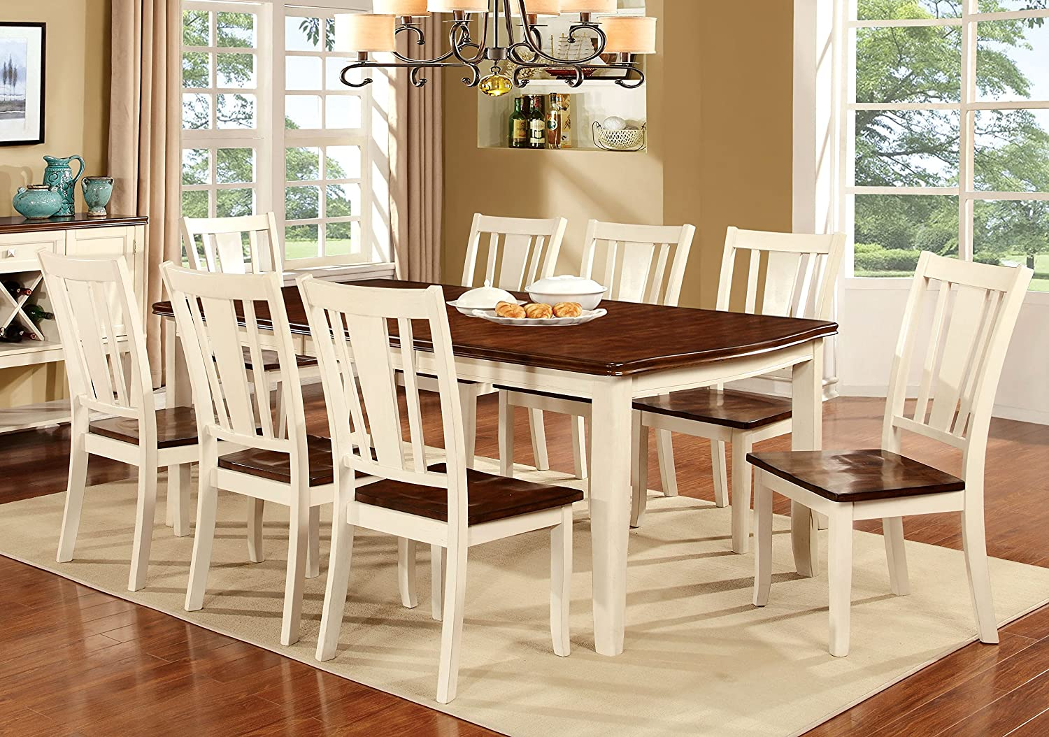 Amazon.com Furniture of America Macchio 9-Piece Transitional Dining Set Cherry/Vintage White Kitchen u0026 Dining & Amazon.com: Furniture of America Macchio 9-Piece Transitional Dining ...