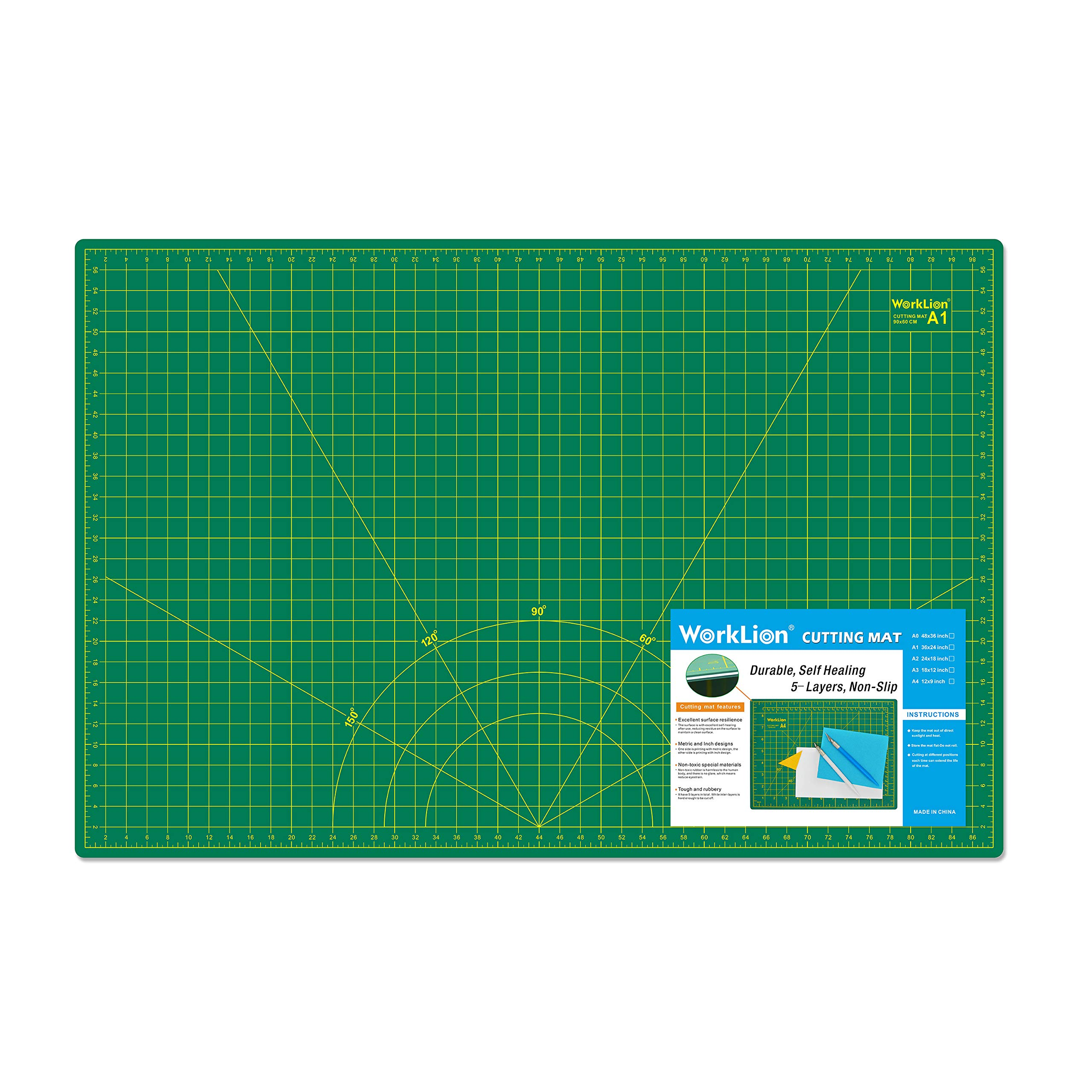 WORKLION 24'' x 36'' Large Self Healing PVC Cutting Mat, Double Sided, Gridded Rotary Cutting Board for Craft, Fabric, Quilting, Sewing, Scrapbooking - Art Project