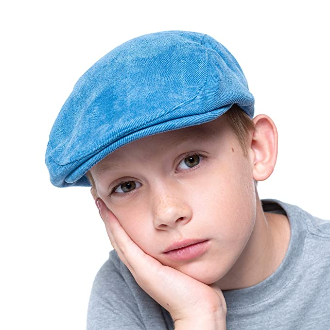 5c6f40ce Amazon.com: accsa Toddler Kid Boy Newsboy Duffer Flat Cap Blue Sun  Protection Driver Golf Hat Chambray Age 4-7Y: Clothing