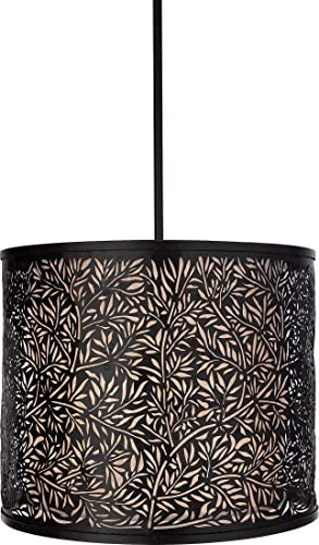 Quoizel UT2816K Utopia 53-Inch 2-Lights Pendant with Cream Silk Shade with Metal Overlay, Mystic Black