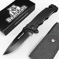 BearCraft Cuchillo Plegable Negro con **E-book Gratuito**  