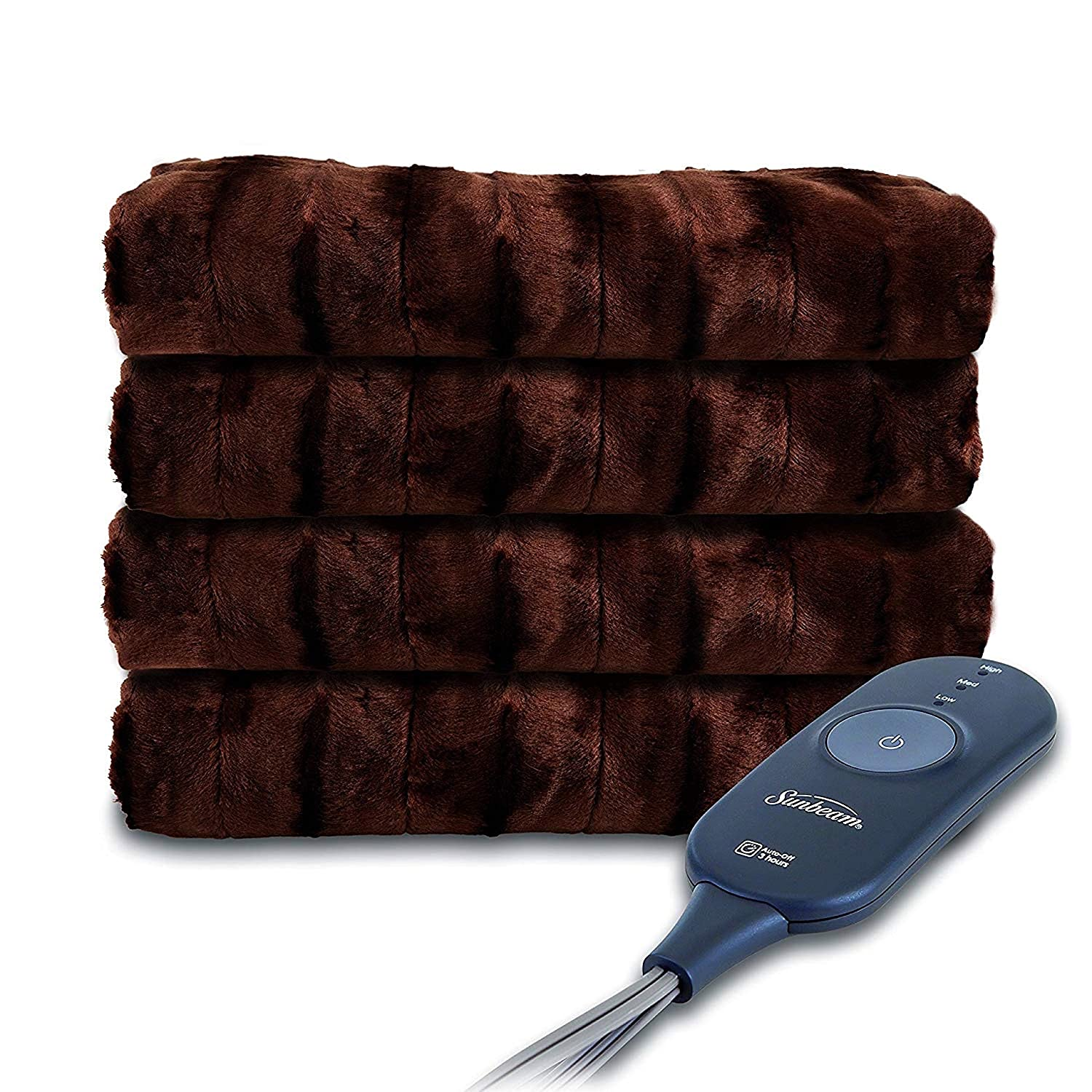 Sunbeam Heated Throw Blanket | Faux Fur, 3 Heat Settings, Walnut