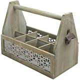 Rustic Wood 8-Bottle Beer Storage Crate with Vintage-Style Decorative Bottle Opener