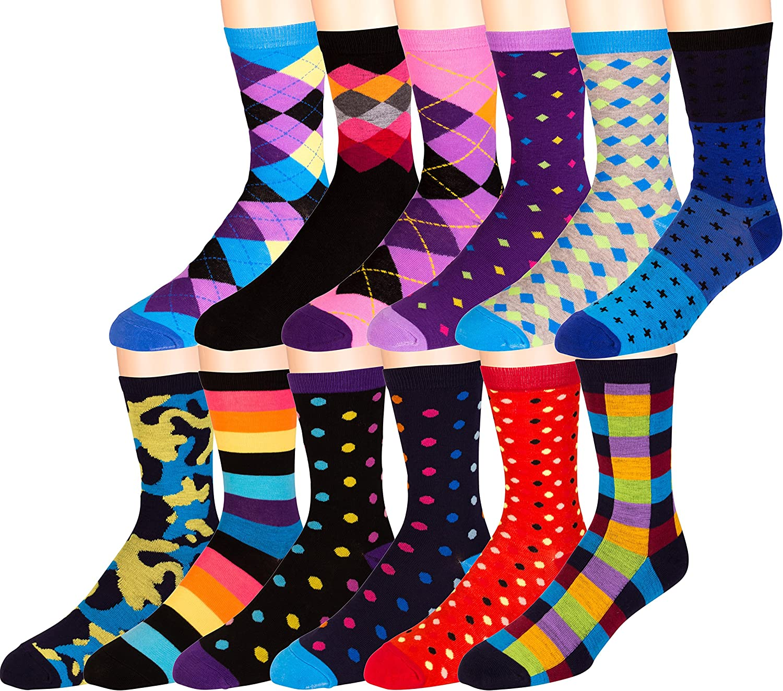 ZEKE Men's Pattern Dress Funky Fun Colorful Crew Socks 12 Assorted Patterns