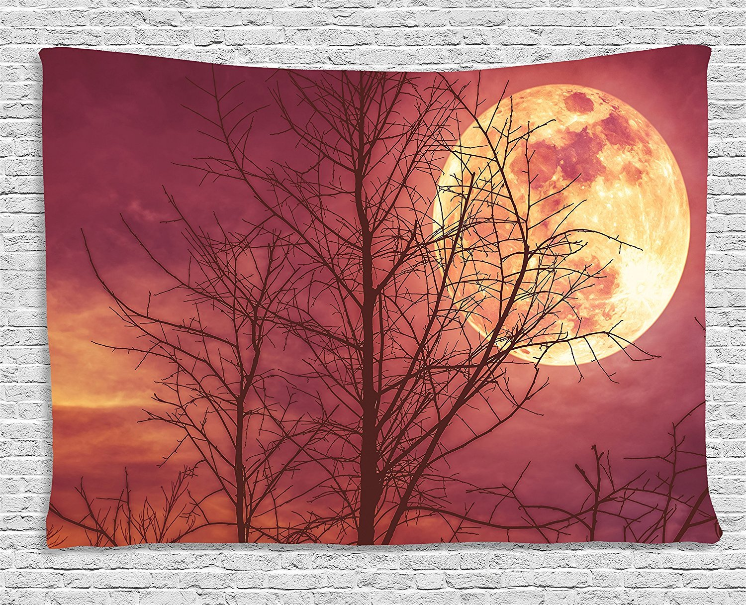 asddcdfdd Dark Red Tapestry, Night Sky Super Moon Behind Silhouette of Dead Tree Serenity Nature, Wall Hanging for Bedroom Living Room Dorm, 80 W X 60 L Inches, Dried Rose Yellow Brown