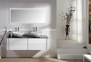 Moderne badezimmermöbel weiss  MODERNE WASCHTISCHKOMBINATION MIT ZWEI WASCHBECKEN BADSET BADMÖBEL ...