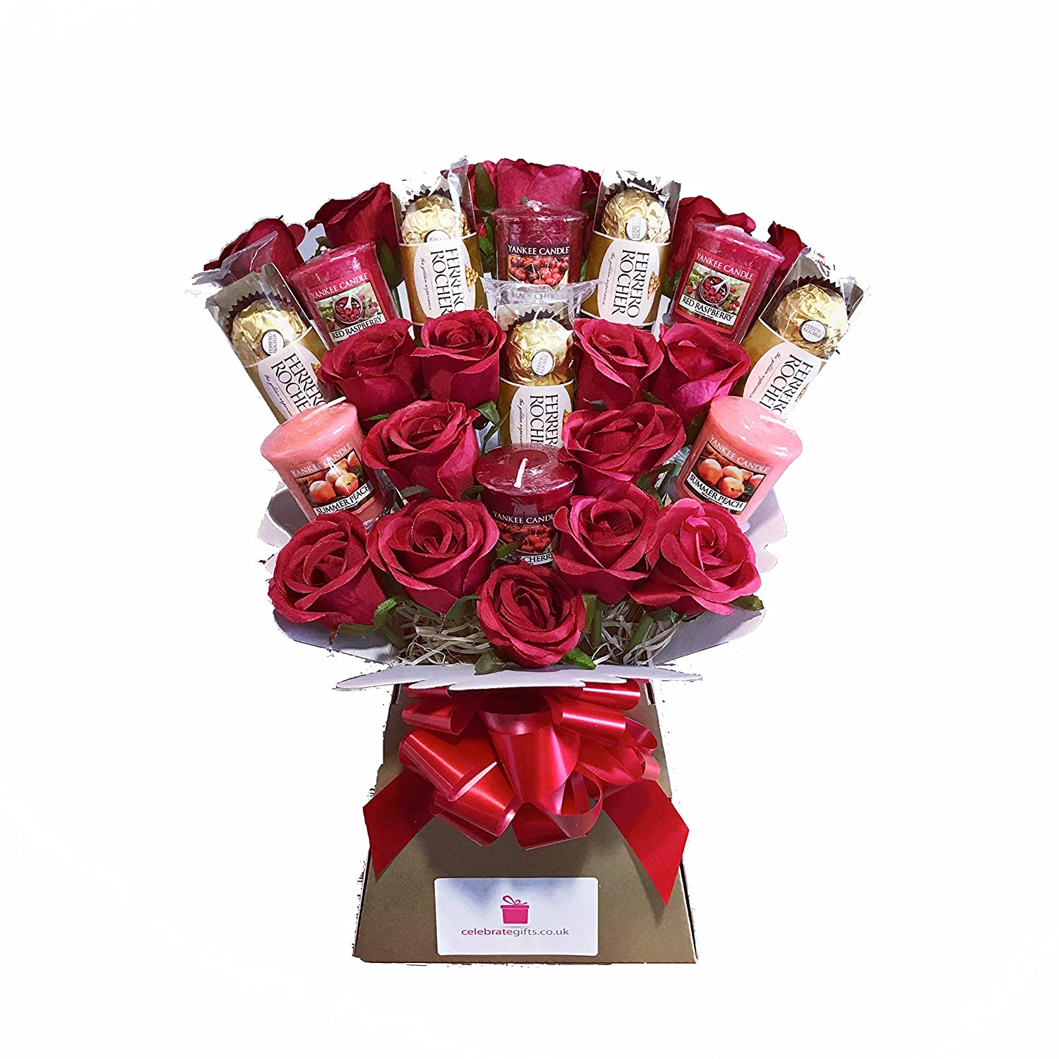 Yankee collection scented candle silk red roses ferrero rocher yankee collection scented candle silk red roses ferrero rocher chocolate bouquet gift set amazon grocery izmirmasajfo Images