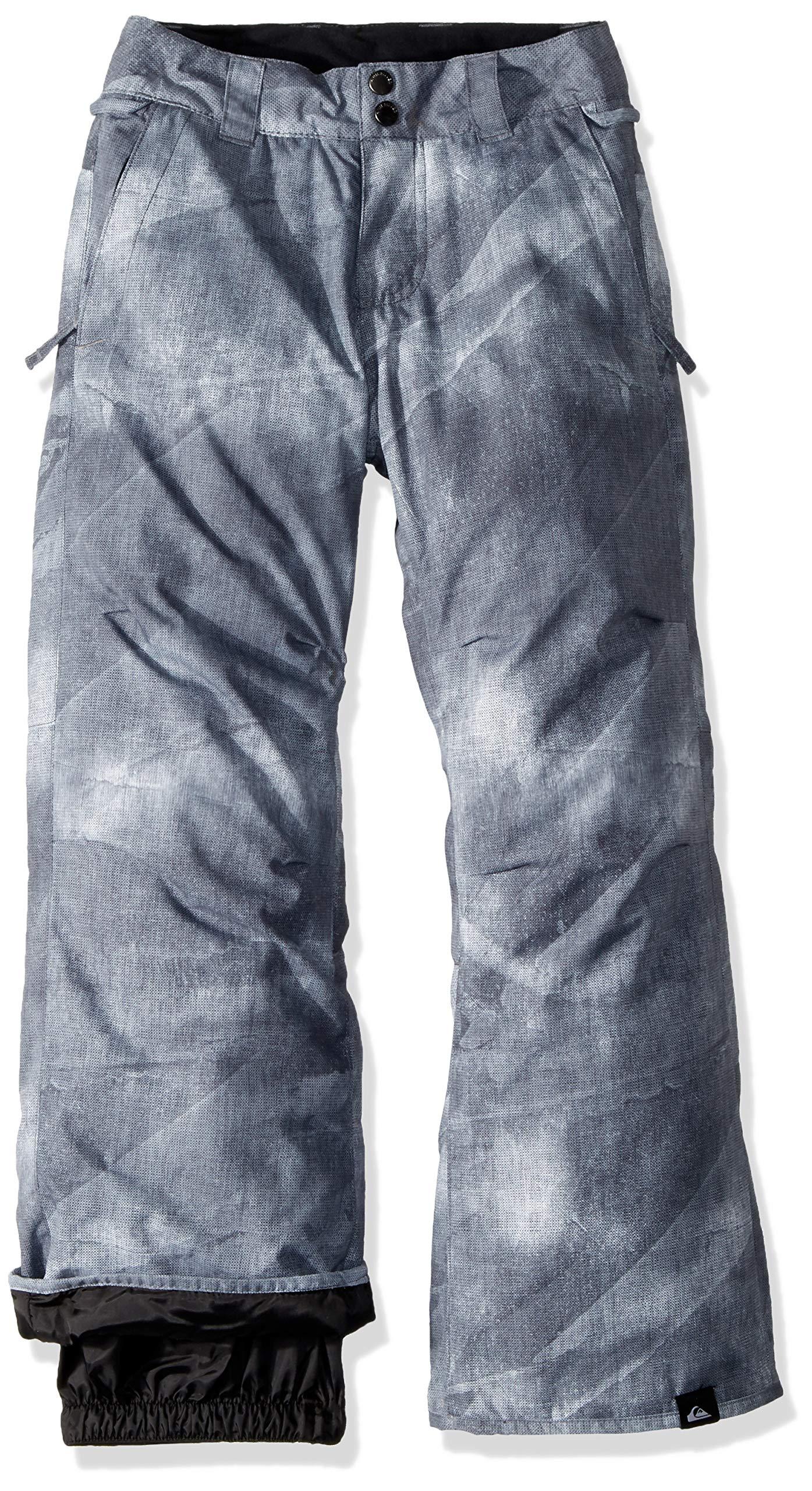 Quiksilver Boys' Big Estate Youth 10K Snow Pants, Grey Simple Texture, 12/L