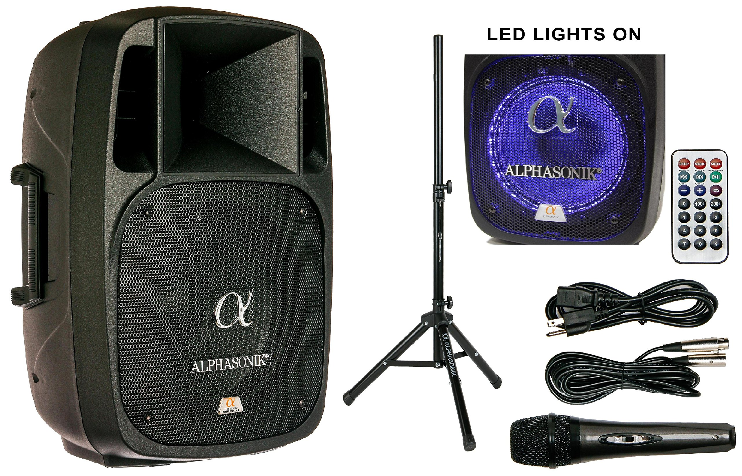 Alphasonik 12'' Powered 2000W PRO DJ Amplified Loud Speaker Bluetooth USB SD Card AUX MP3 FM Radio PA System LED Ring Karaoke Mic Main Monitor, Band Church, Party, Guitar Amp, Home, BBQ w/ Tripod Stand