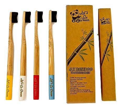 Cepillos de dientes de bambú de LetS Go Green, cerdas de carbón de tamaño mediano
