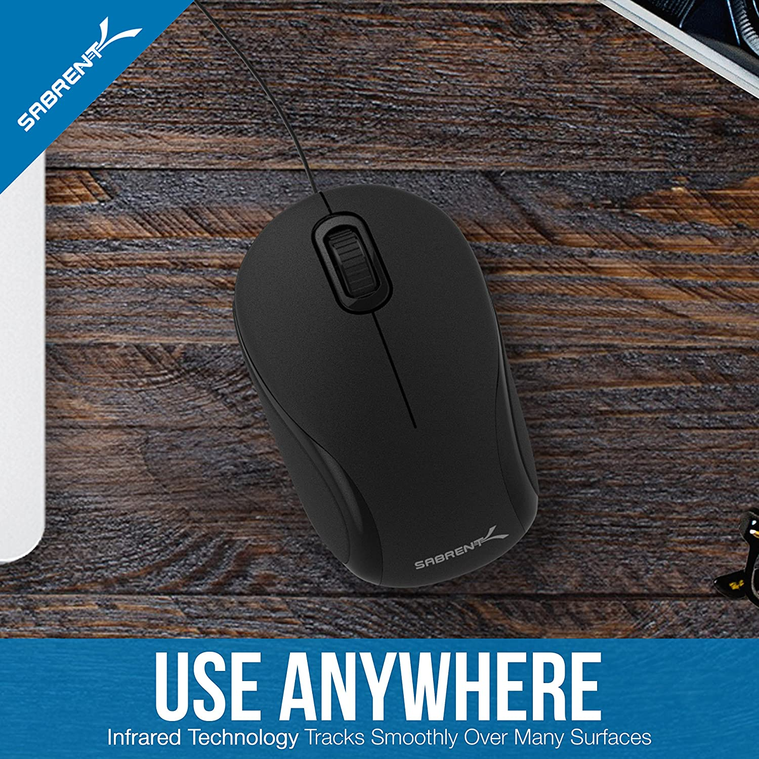 Sabrent Mini Travel USB Optical Mouse with Retractable Cable for Computers and laptops | Mac & PC Compatible (MS-OPMN): Computers & Accessories