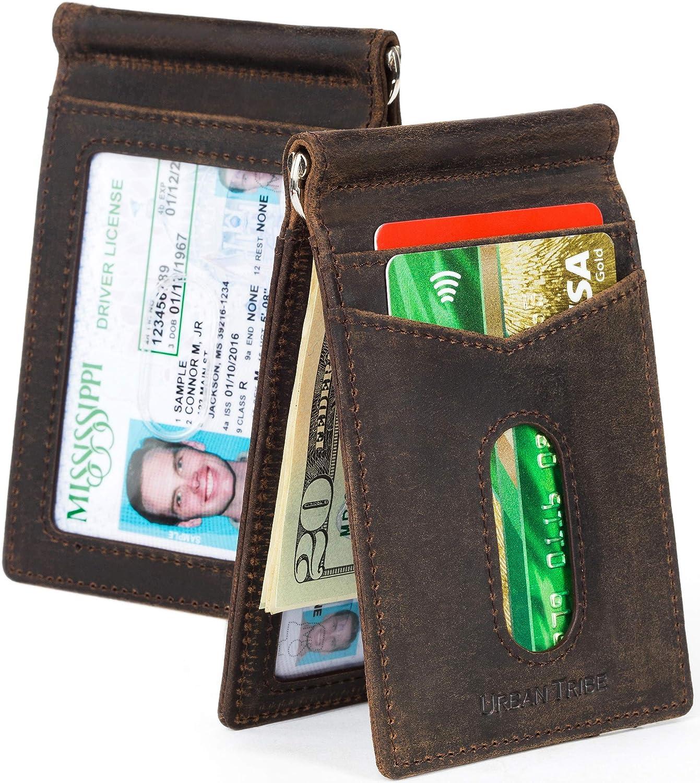 2 ID Window Slim Bifold Wallet RFID Minimalist Front Pocket Wallets for Men Leather Credit Card Holder /& Money Clip