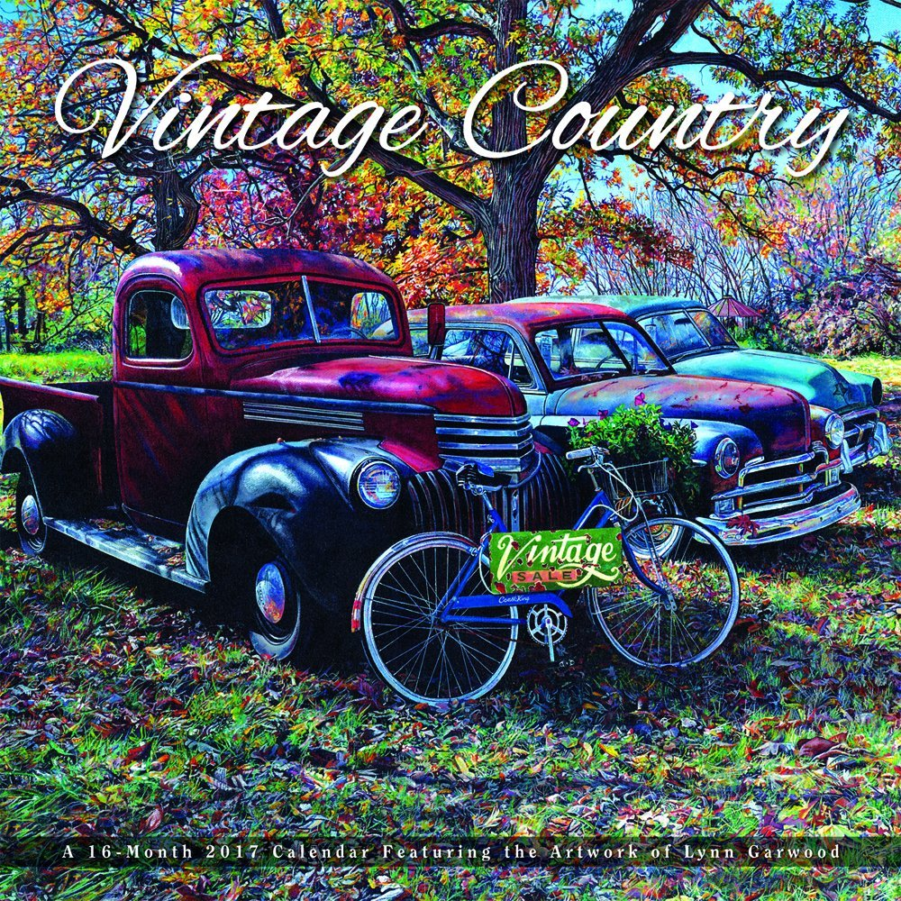 Vintage Country - 2017 - Car & Truck Art 12inch x 12inch Hanging Square Wall Photographic Planner Calendar by Hopper Studios
