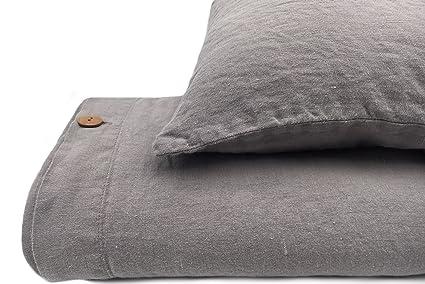Jowollina Leinen Bettwäsche 100% Natur Leinen Stonewashed (155x220; 80x80  Cm) Elefanten Grau