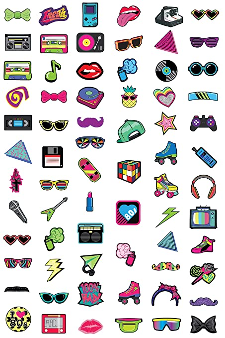 cf24c3b10bf2 Amazon.com  80s Photo Booth Props - 60-Pack 1980s Party Photobooth ...