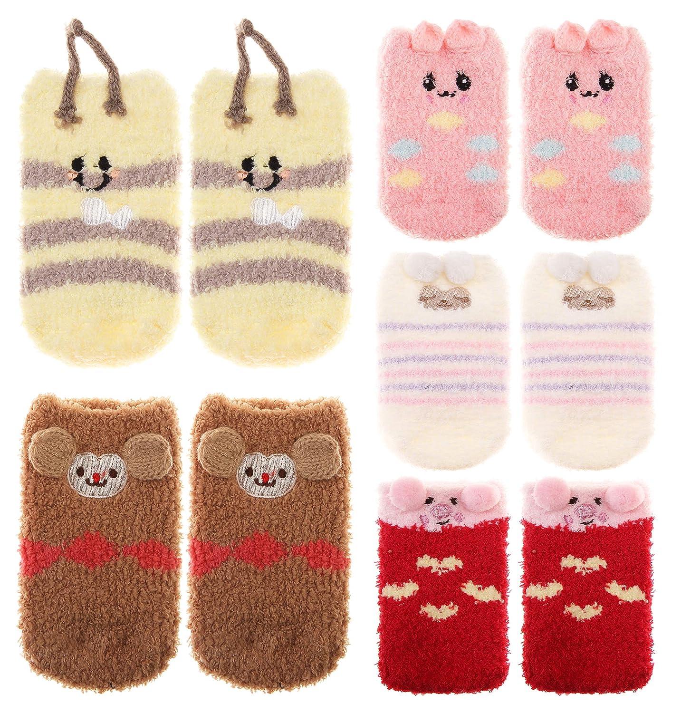 Baby Boy Girls Soft Fuzzy Slipper Socks Non-Slip Cozy Winter Fluffy Warm Kids Toddler Socks 5 Pairs
