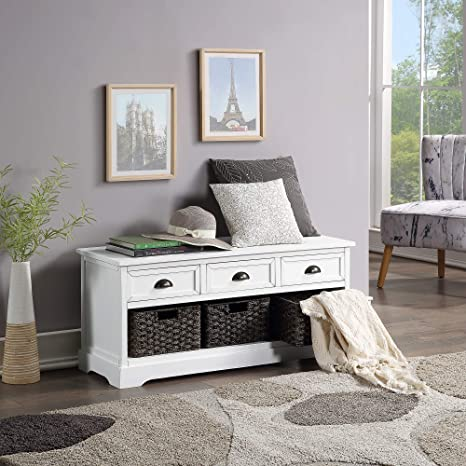 Entryway Storage Bench with 3 Drawers and 3 Baskets for Living Room P PURLOVE Wood Storage Bench Shoe Bench with Removable Cushion Entryway,Hallway