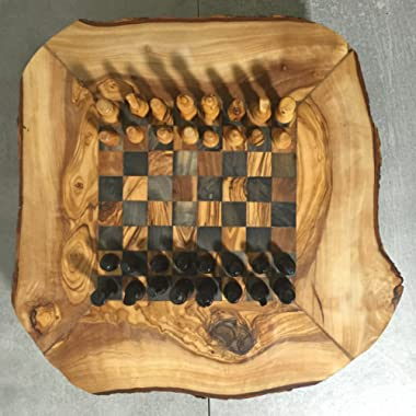 Muzi-Muzi Chess Game Set from Olive Wood, Rustic Board, Hand Carved Pieces, Storage Boxes