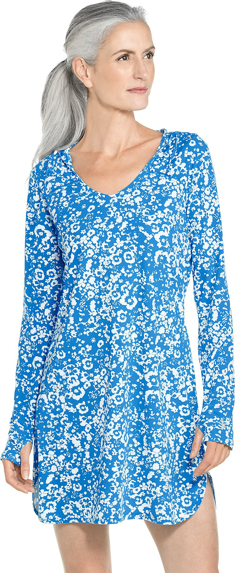 coolibar UPF 50+ Women's Swim Cover-Up Dress - Sun Protective (X-Large- Brilliant Blue Floral)
