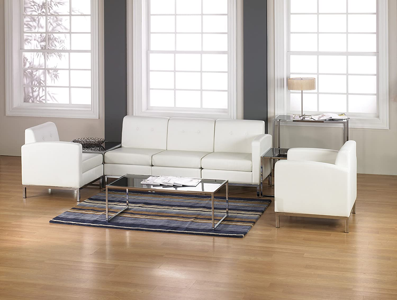 Amazon ave six wall street faux leather corner chair with amazon ave six wall street faux leather corner chair with chrome accents white kitchen dining geotapseo Choice Image