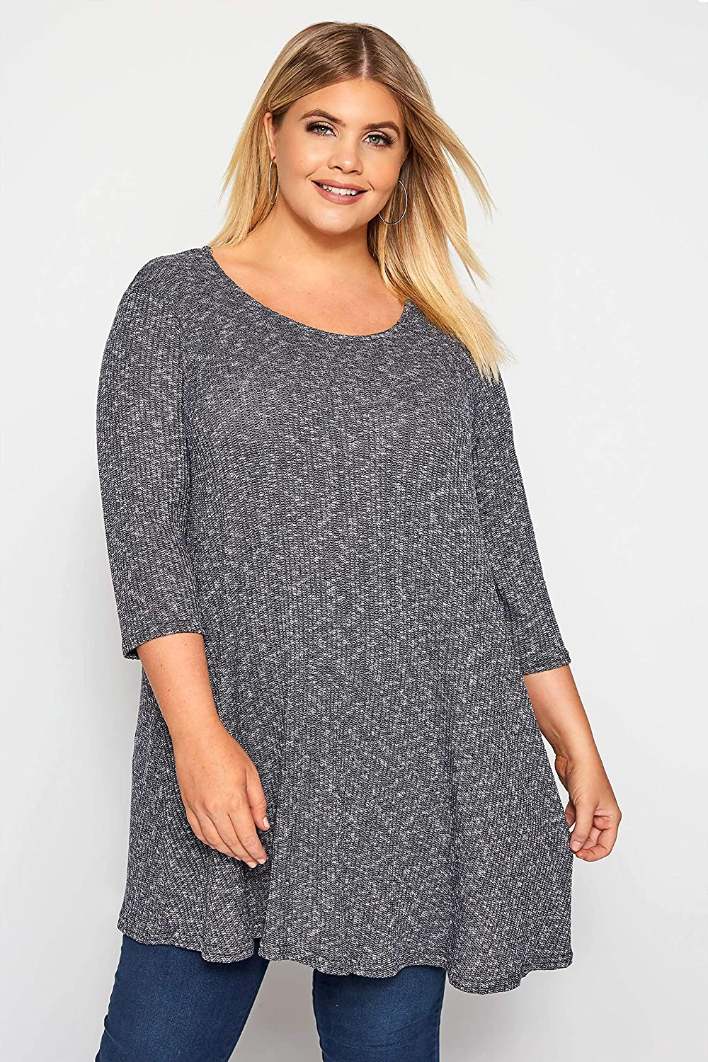 Yours Clothing Womens Marl Ribbed Tunic Top