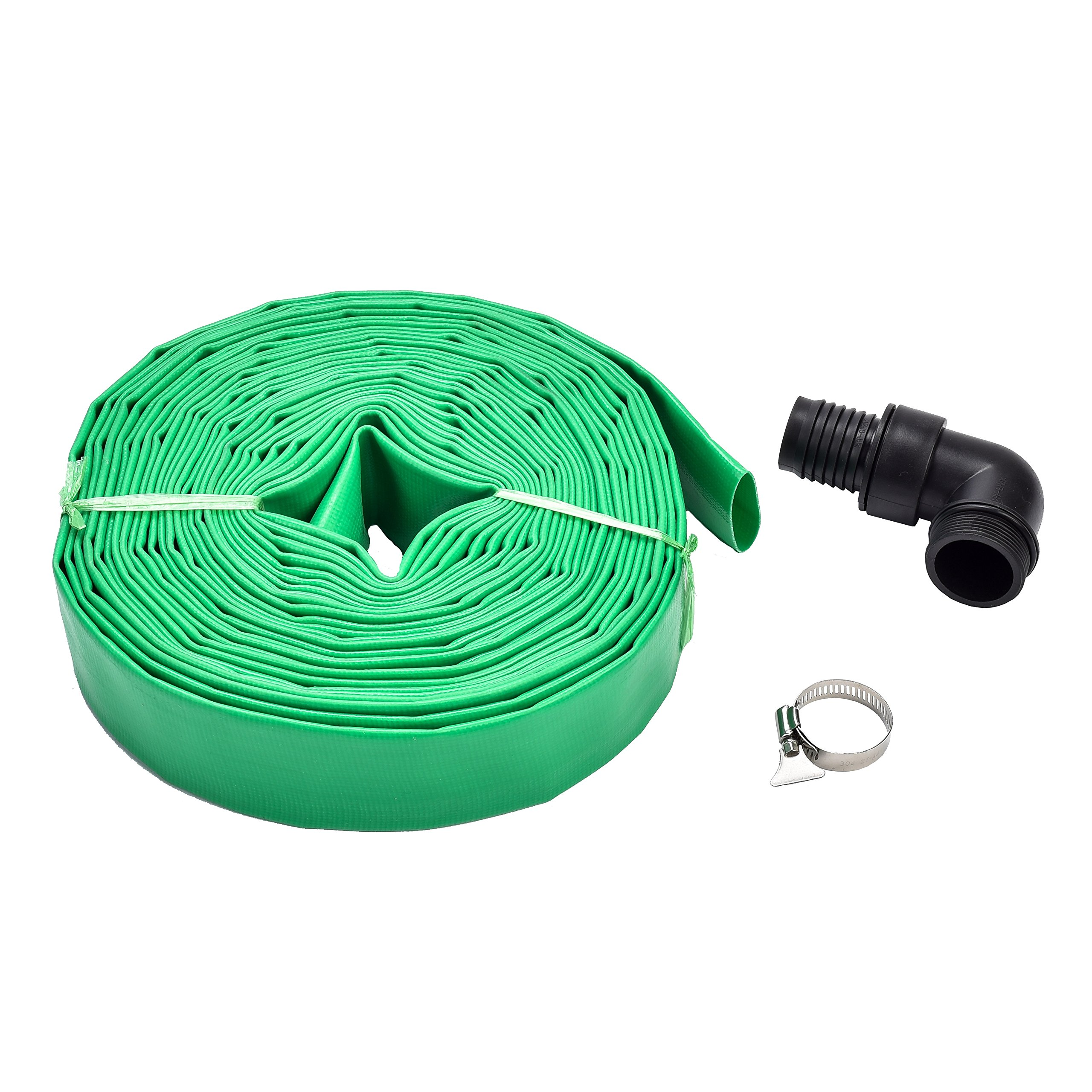 Fluent Power PVC Lay Flat Discharge Hose Kit 1-1/2''x49ft Including Sump Pump 1.5'' Adapter and Stainless Clamp